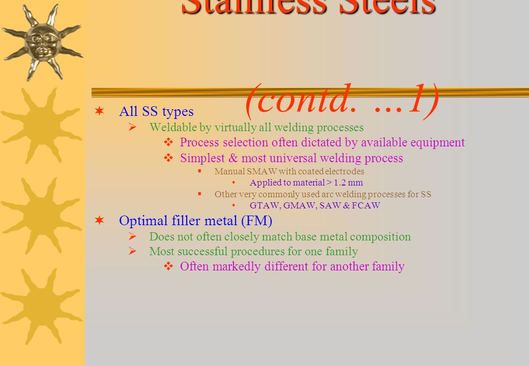 Stainless Steels (contd. …1)