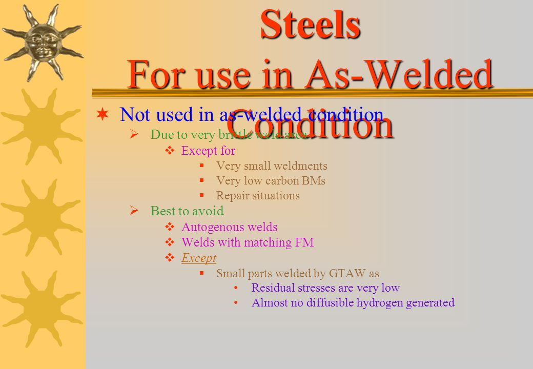 Martensitic Stainless Steels For use in As-Welded Condition