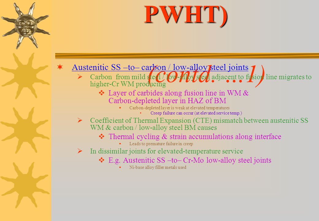 Austenitic SS (after PWHT) (contd. …1)
