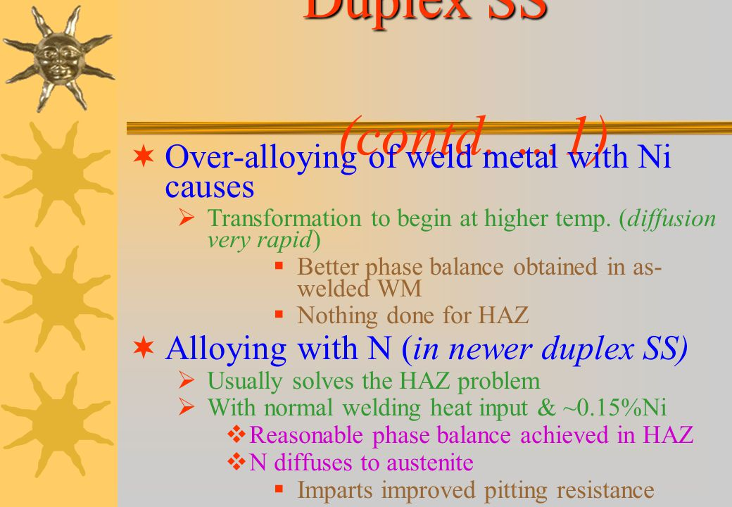Duplex SS (contd. …1) Over-alloying of weld metal with Ni causes
