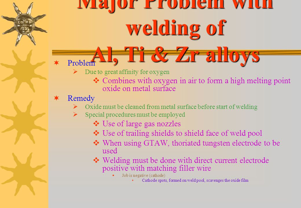Major Problem with welding of Al, Ti & Zr alloys