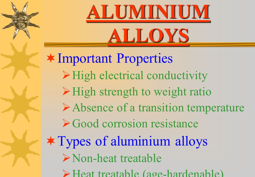 ALUMINIUM ALLOYS Important Properties Types of aluminium alloys