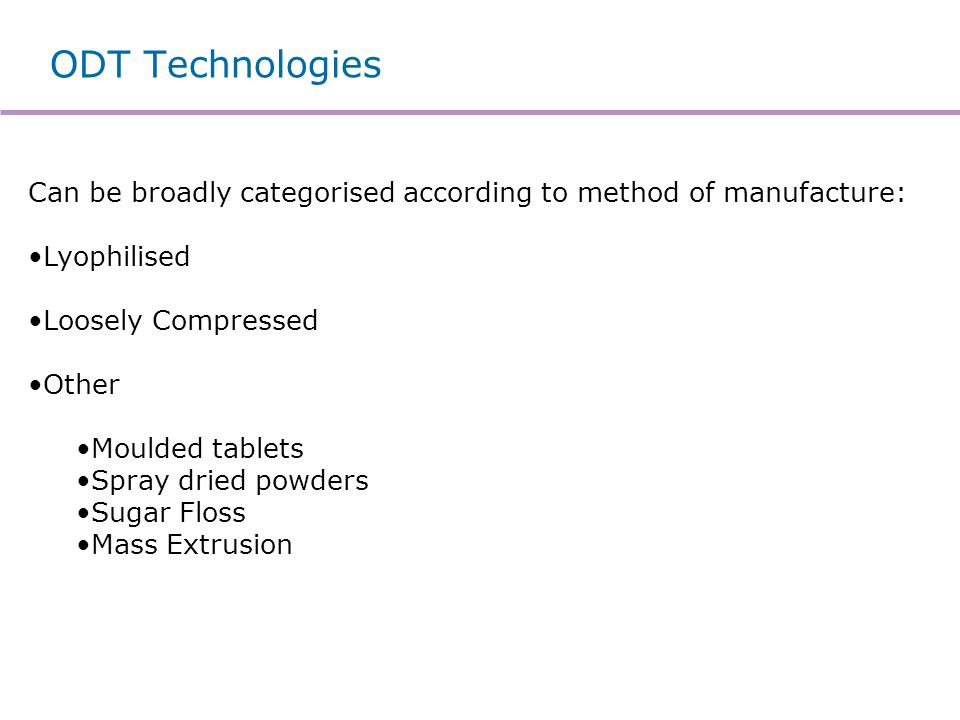 Example ODT Technologies
