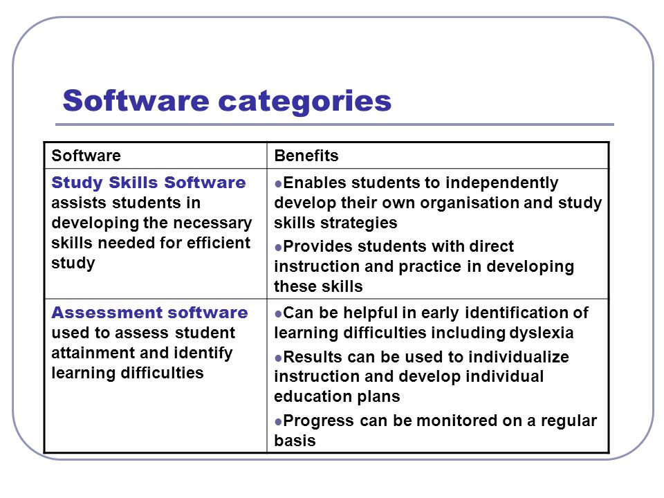Software categories Software Benefits