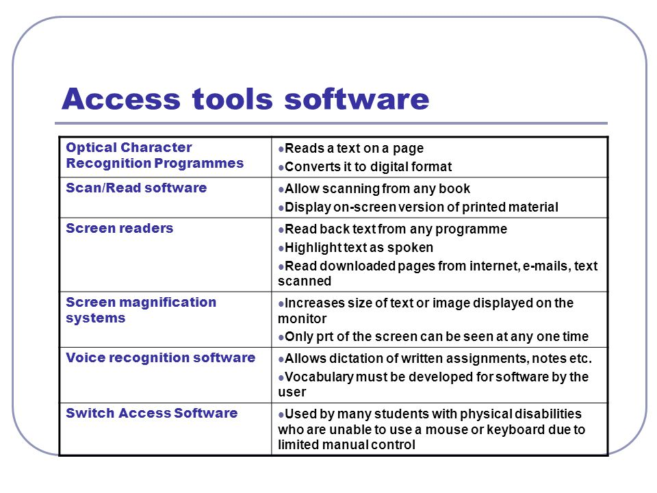 Access tools software Optical Character Recognition Programmes