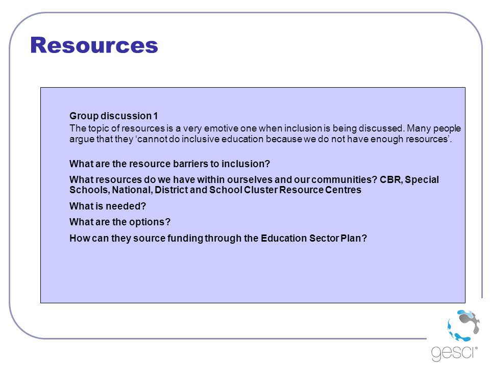 Resources Group discussion 1