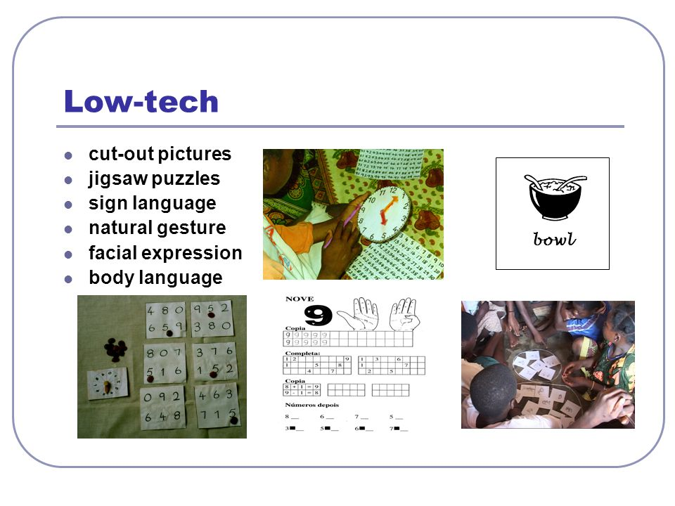 Low-tech cut-out pictures jigsaw puzzles sign language natural gesture