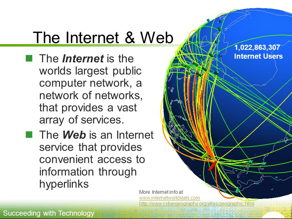 The Internet & Web 1,022,863,307 Internet Users.