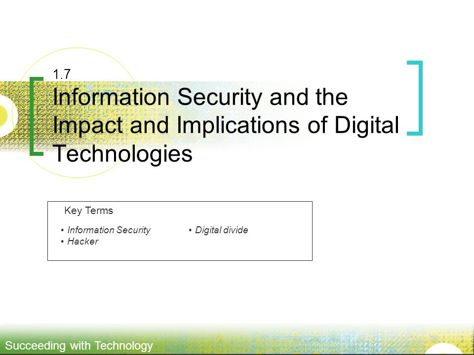 1.7 Information Security and the Impact and Implications of Digital Technologies