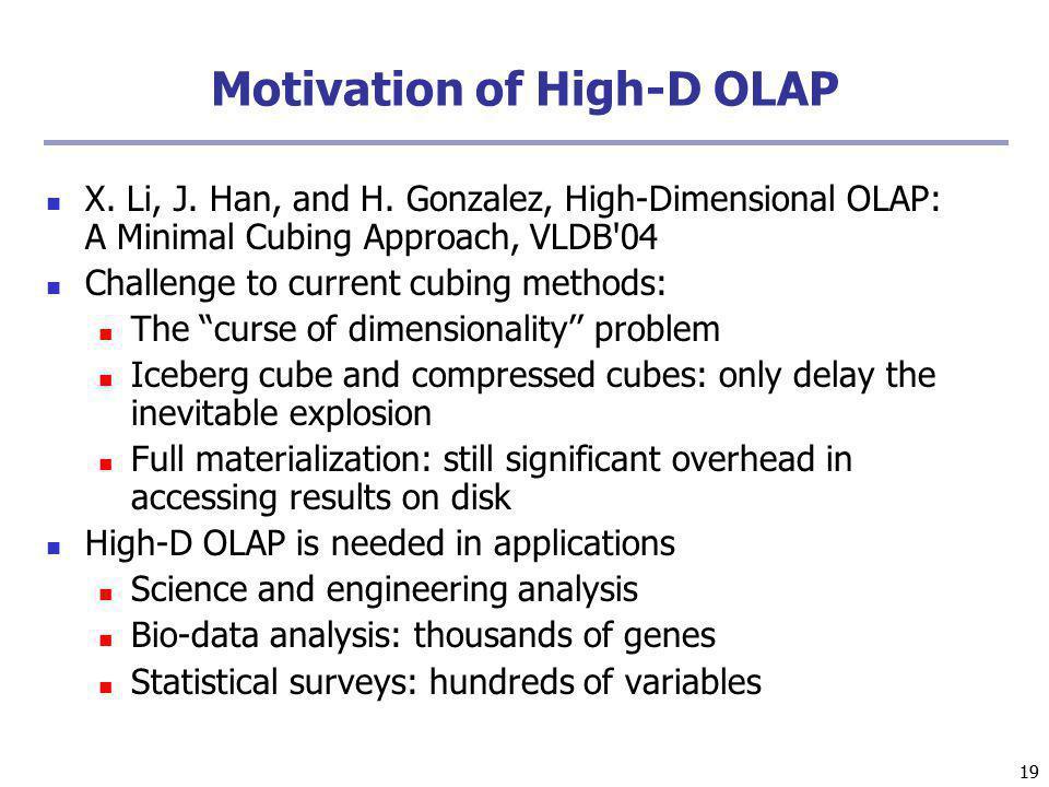 Motivation of High-D OLAP
