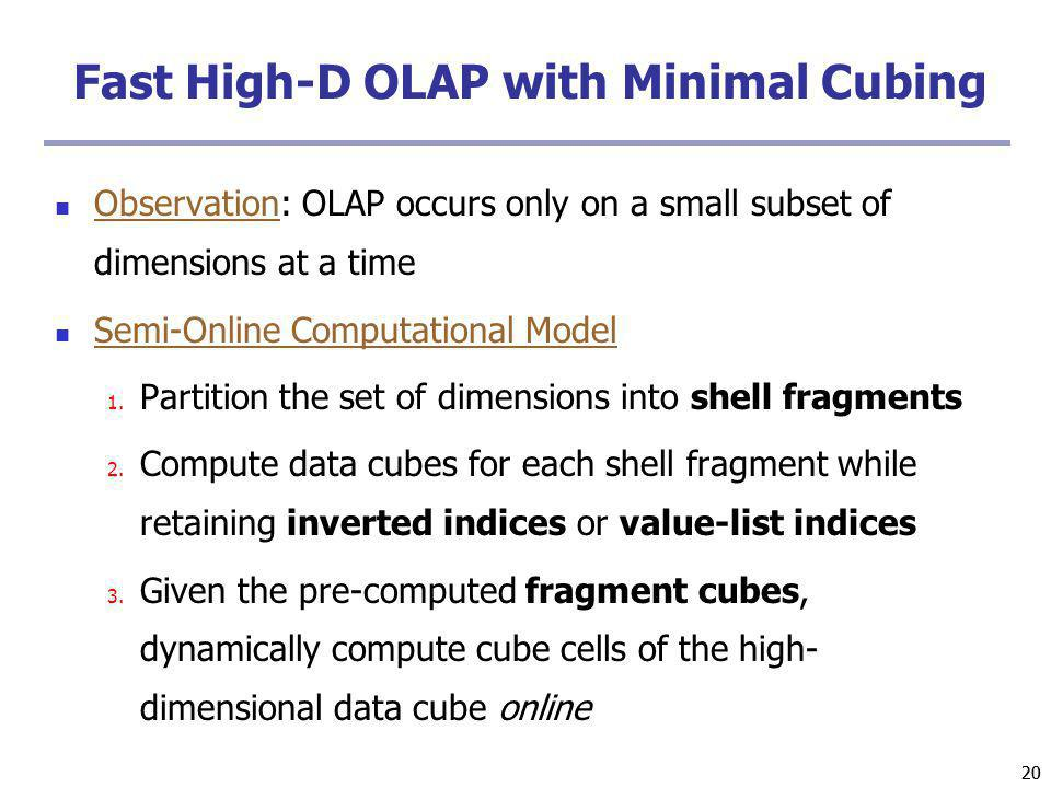 Fast High-D OLAP with Minimal Cubing
