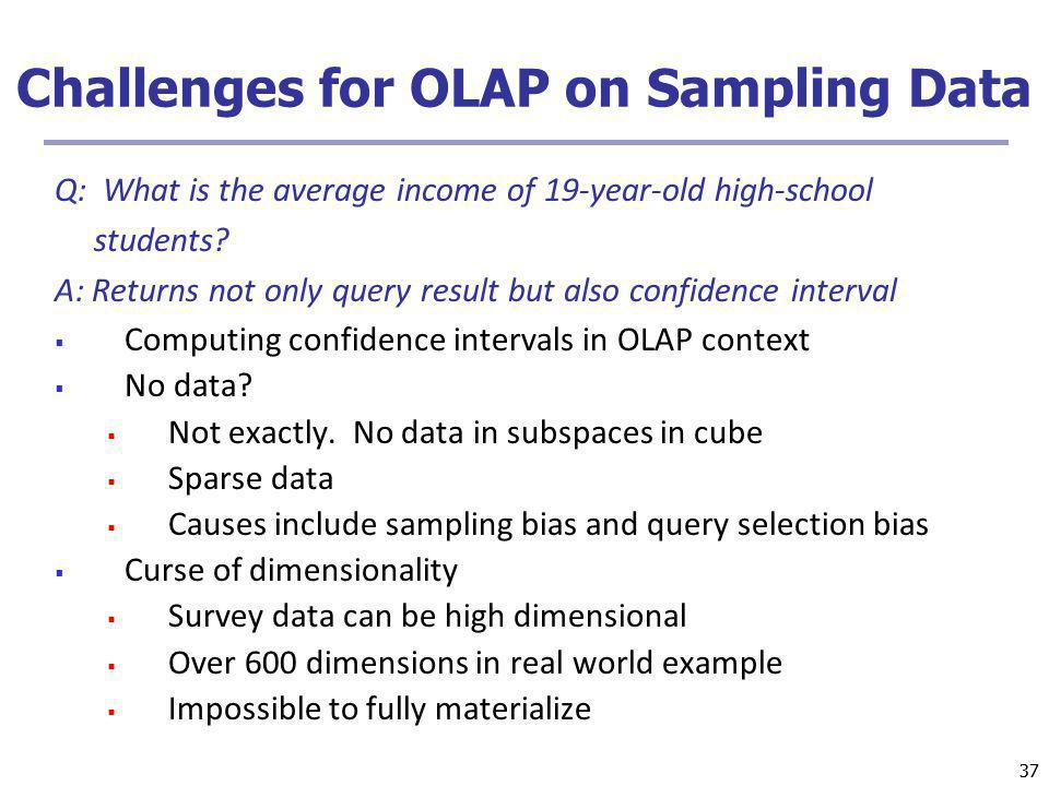 Challenges for OLAP on Sampling Data