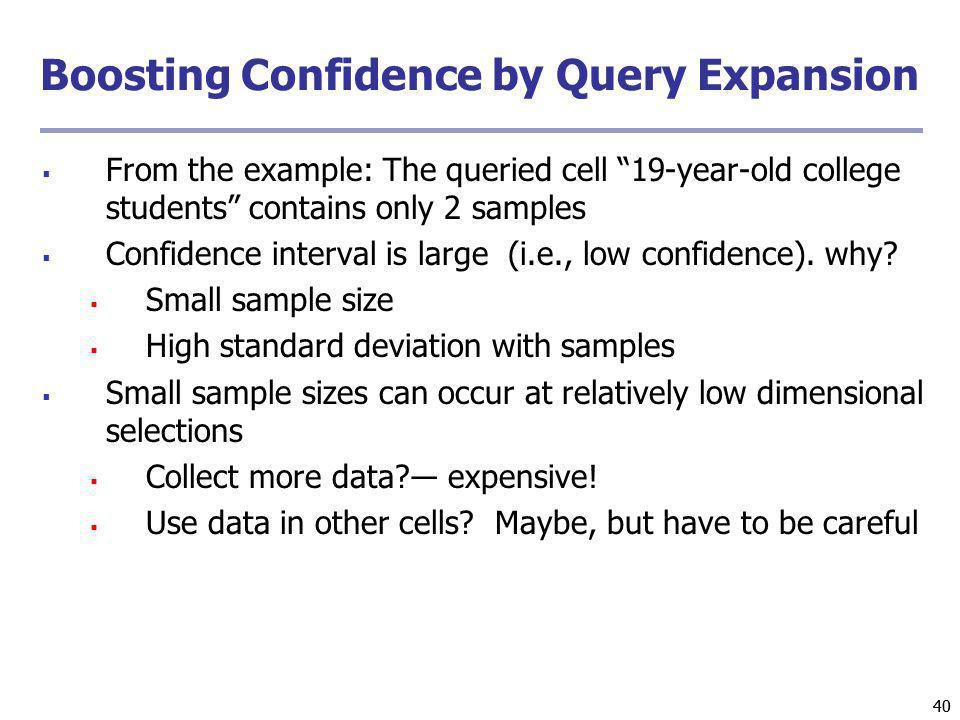 Boosting Confidence by Query Expansion