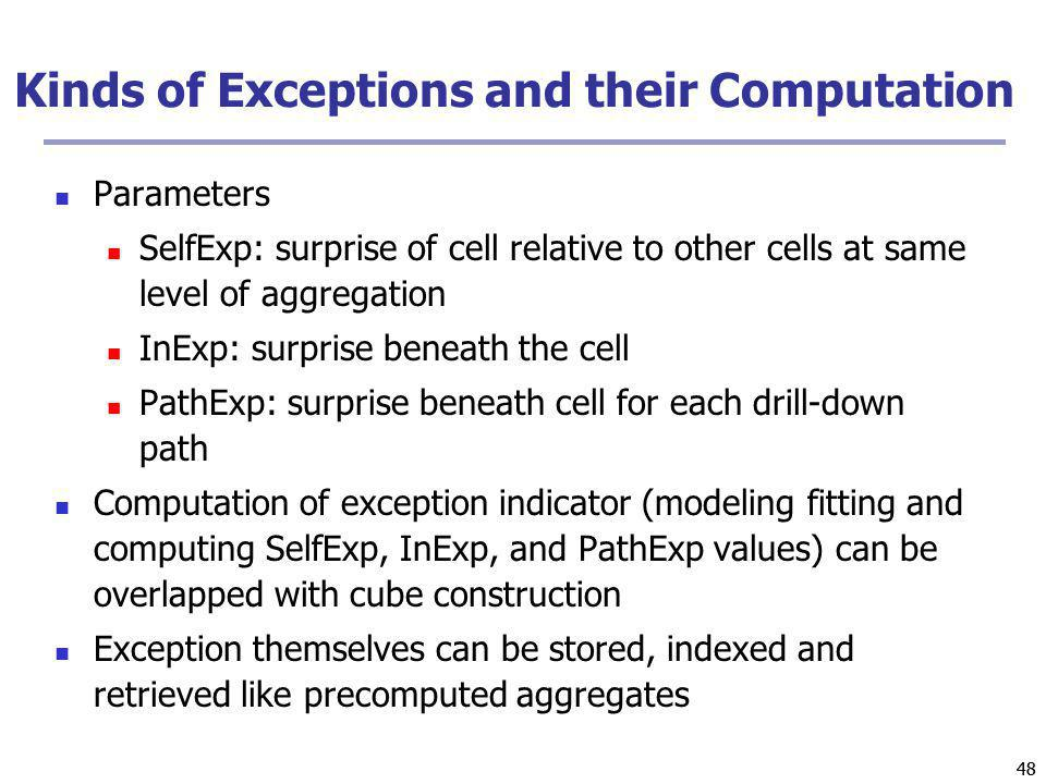 Kinds of Exceptions and their Computation
