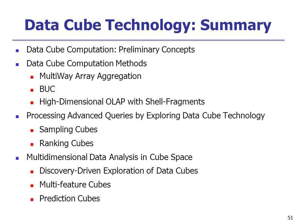 Data Cube Technology: Summary