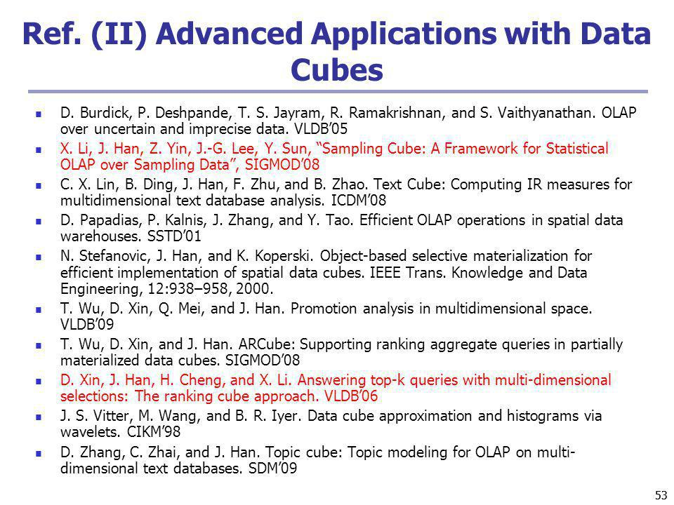 Ref. (II) Advanced Applications with Data Cubes
