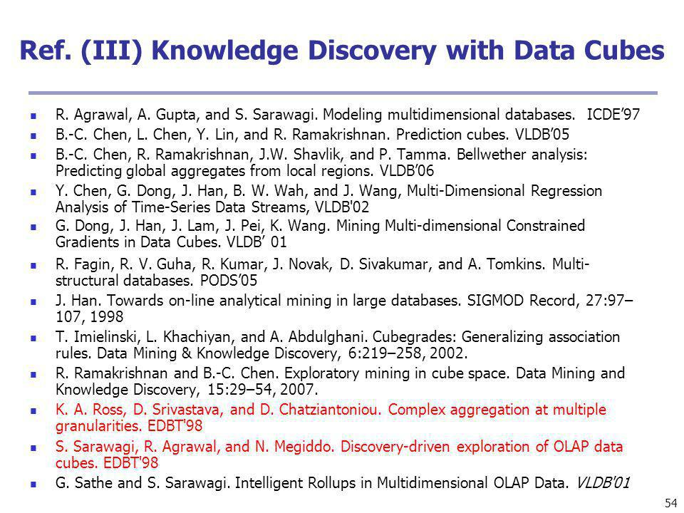 Ref. (III) Knowledge Discovery with Data Cubes