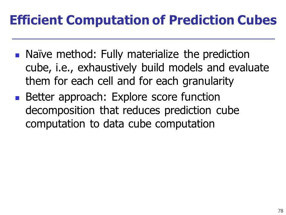 Efficient Computation of Prediction Cubes