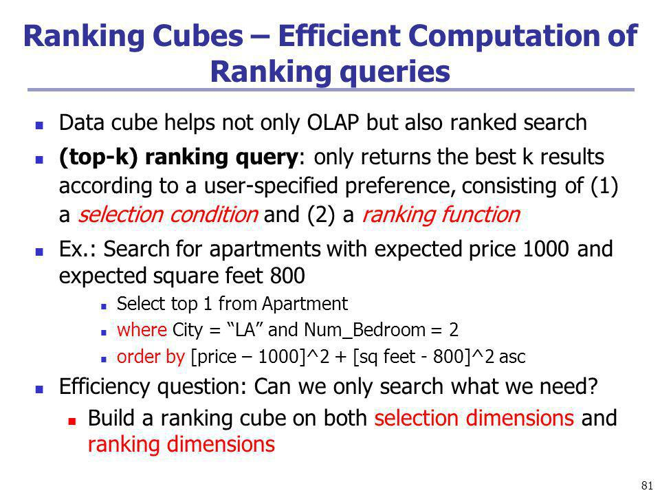 Ranking Cubes – Efficient Computation of Ranking queries