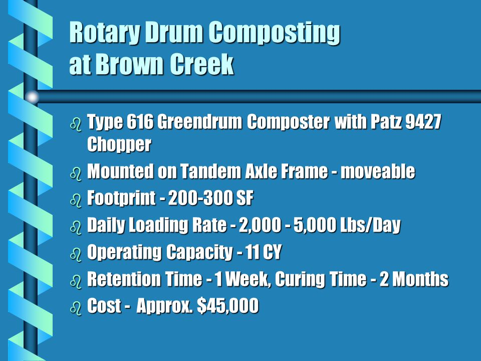 Rotary Drum Composting at Brown Creek