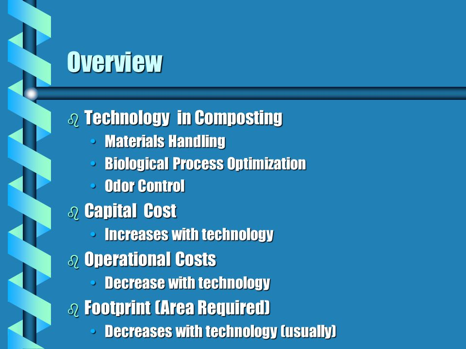 Overview Technology in Composting Capital Cost Operational Costs