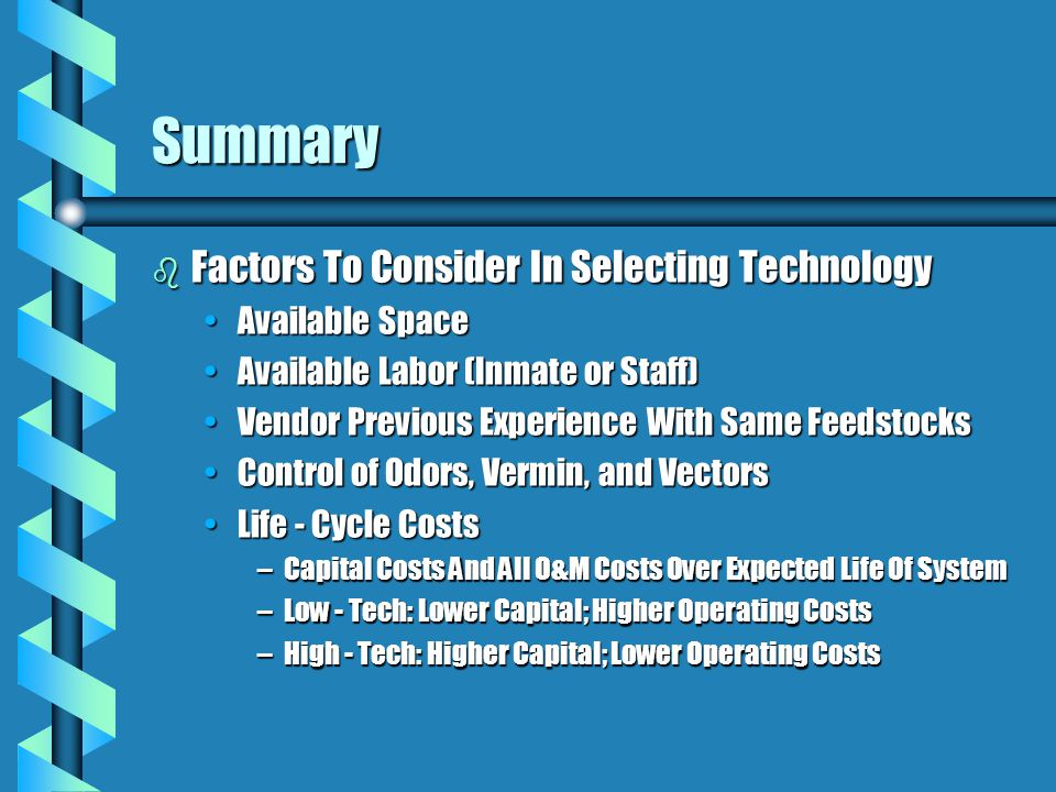 Summary Factors To Consider In Selecting Technology Available Space