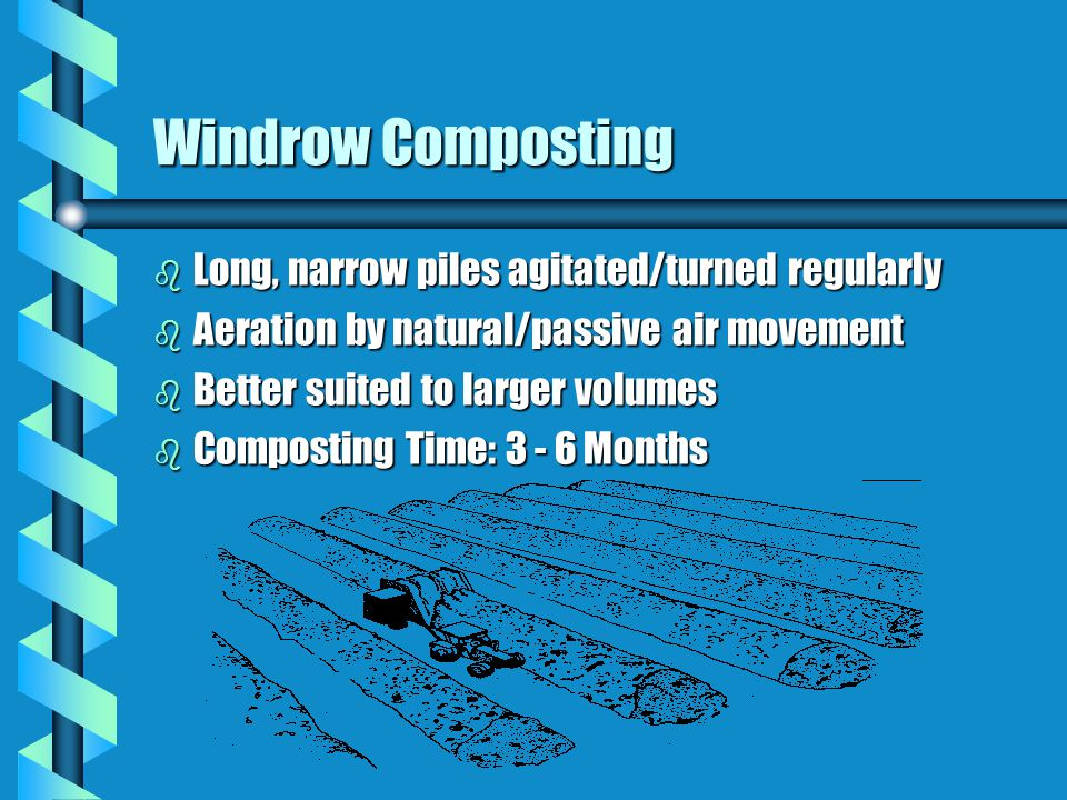 Windrow Composting Long, narrow piles agitated/turned regularly