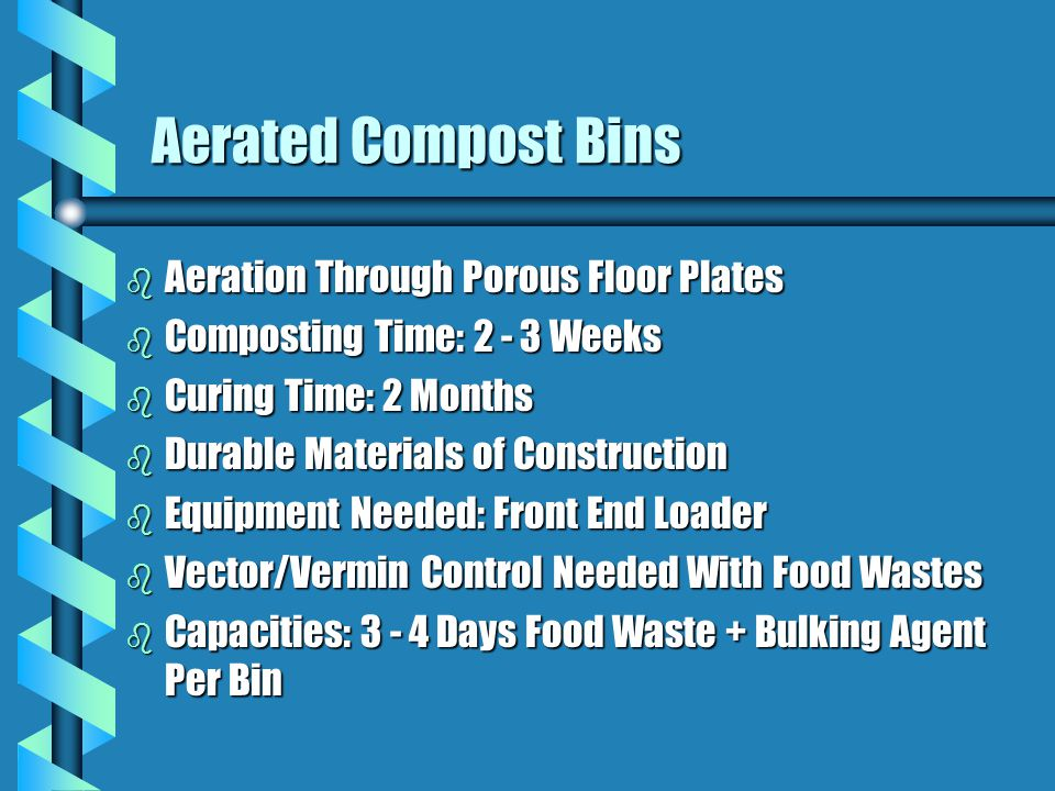 Aerated Compost Bins Aeration Through Porous Floor Plates