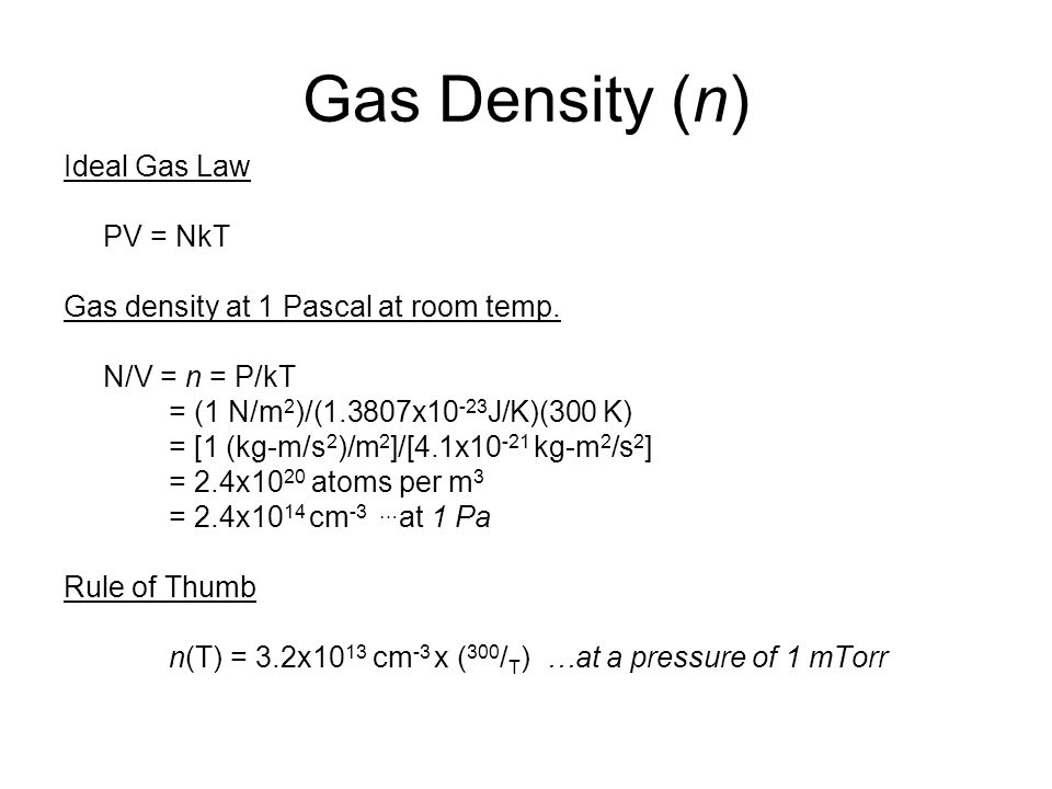 Gas Density (n) Ideal Gas Law PV = NkT