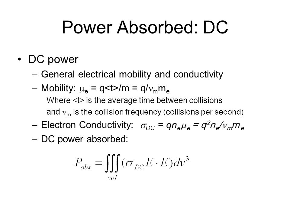 Power Absorbed: DC DC power