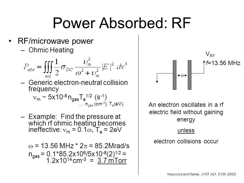 Power Absorbed: RF RF/microwave power Ohmic Heating