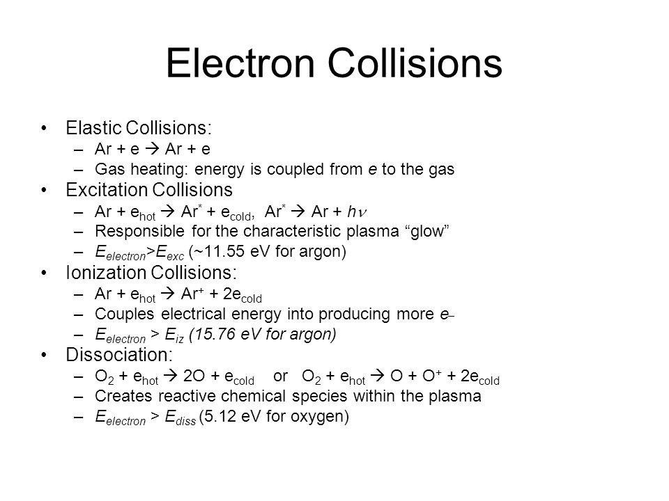 Electron Collisions Elastic Collisions: Excitation Collisions