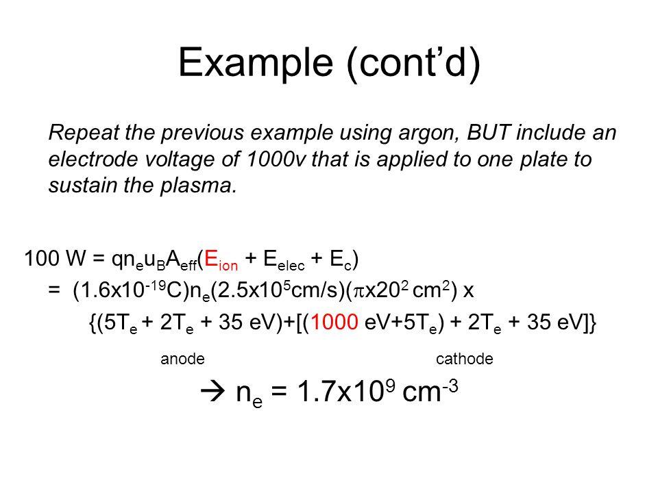 Example (cont'd)  ne = 1.7x109 cm-3