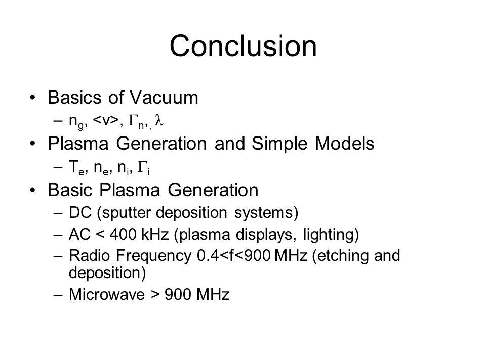 Conclusion Basics of Vacuum Plasma Generation and Simple Models