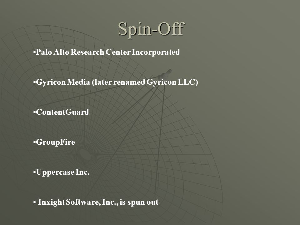 Spin-Off Palo Alto Research Center Incorporated