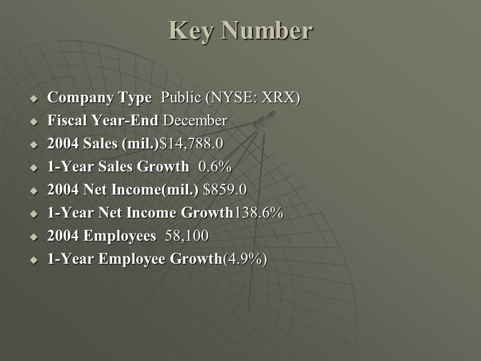 Key Number Company Type Public (NYSE: XRX) Fiscal Year-End December
