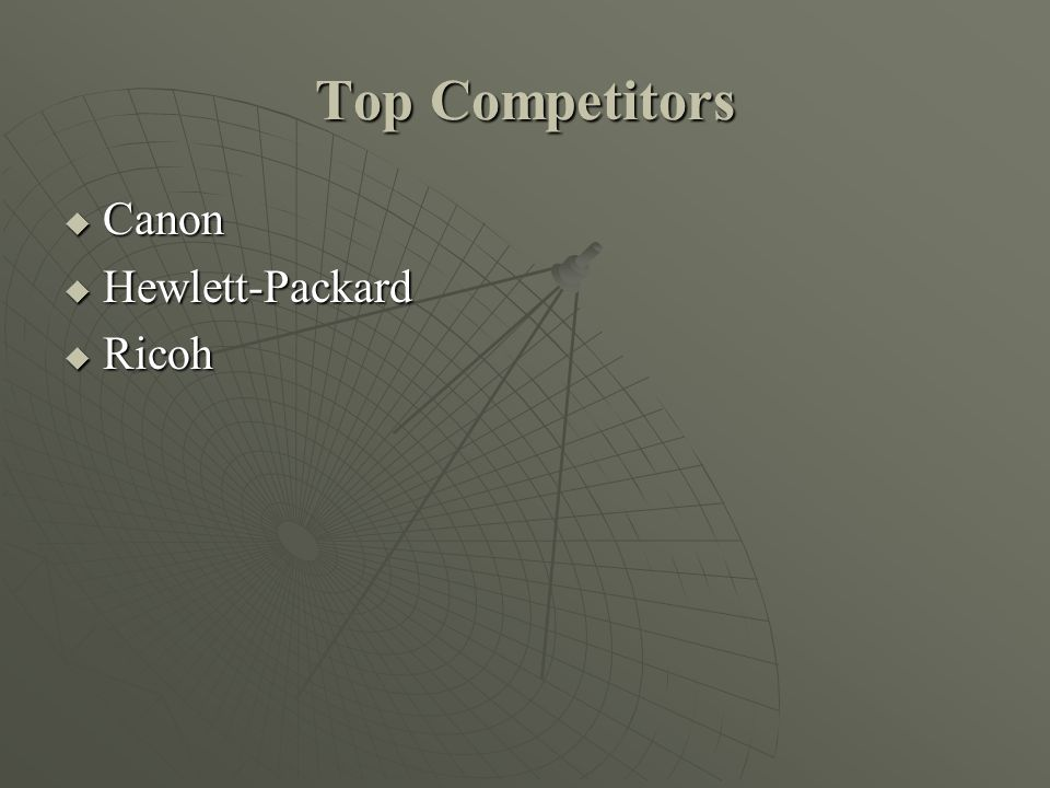 Top Competitors Canon Hewlett-Packard Ricoh