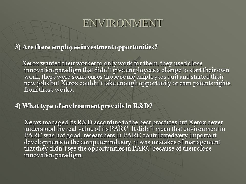 ENVIRONMENT 3) Are there employee investment opportunities