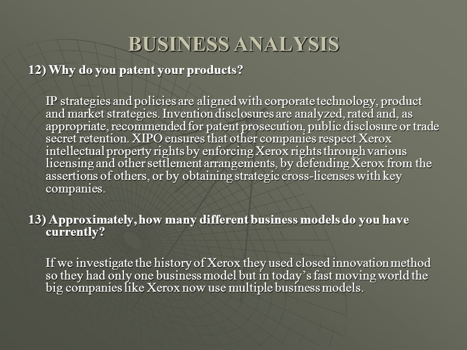 BUSINESS ANALYSIS 12) Why do you patent your products