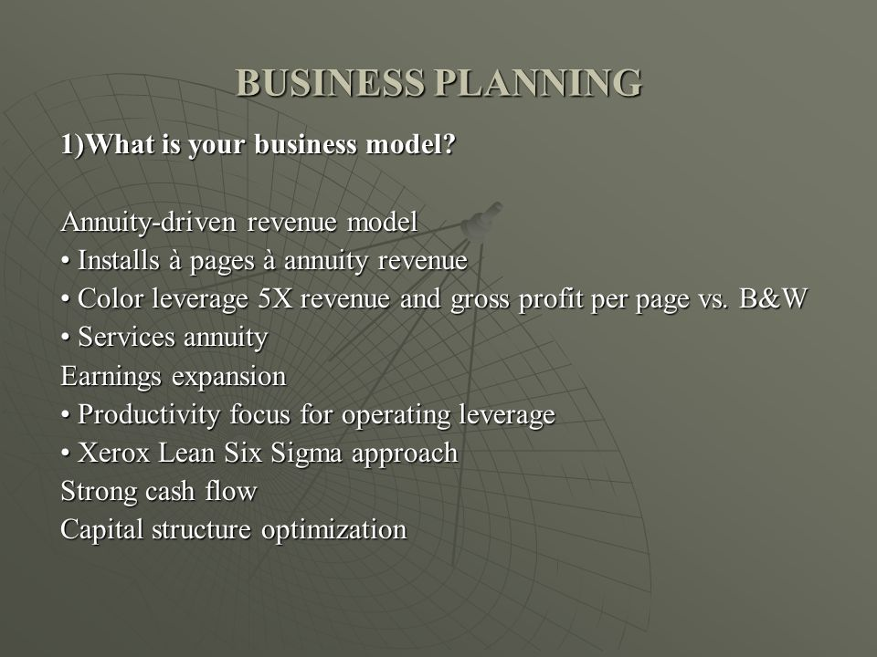 BUSINESS PLANNING 1)What is your business model