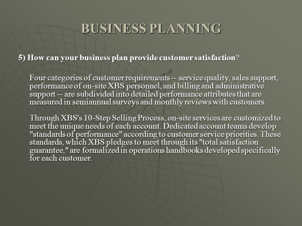 BUSINESS PLANNING 5) How can your business plan provide customer satisfaction