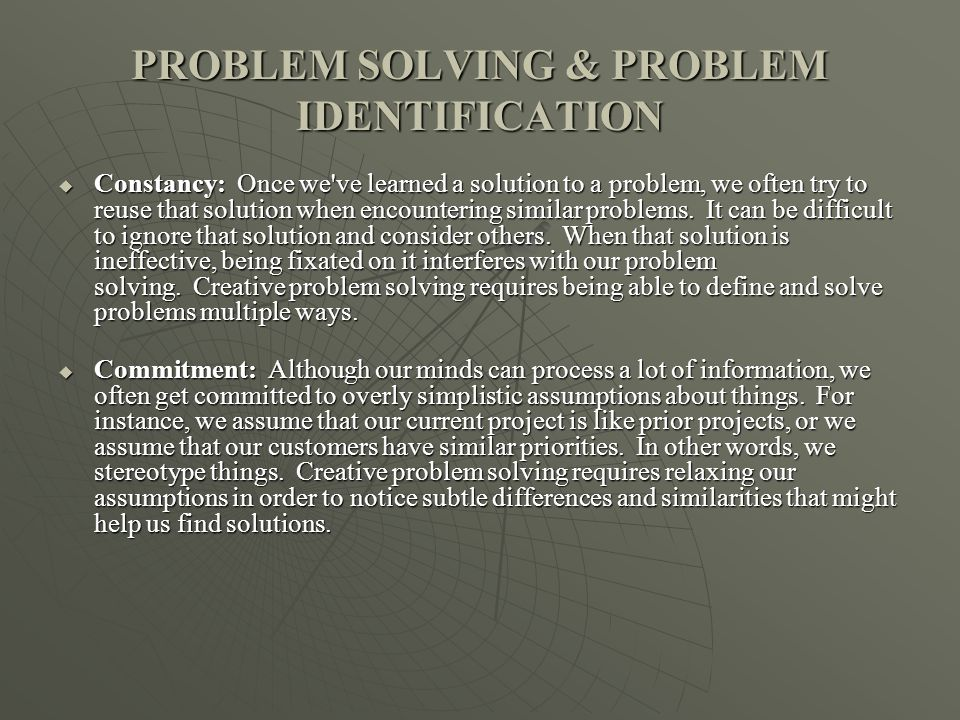 PROBLEM SOLVING & PROBLEM IDENTIFICATION