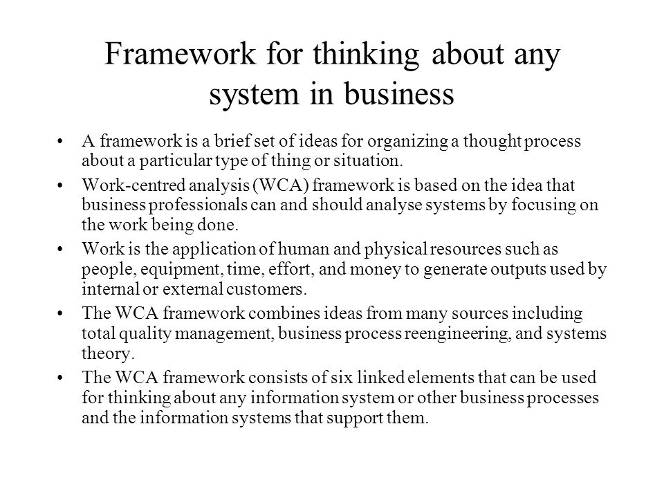 Framework for thinking about any system in business