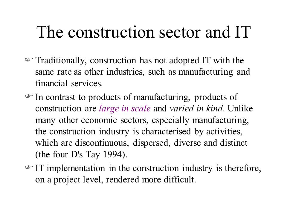 The construction sector and IT
