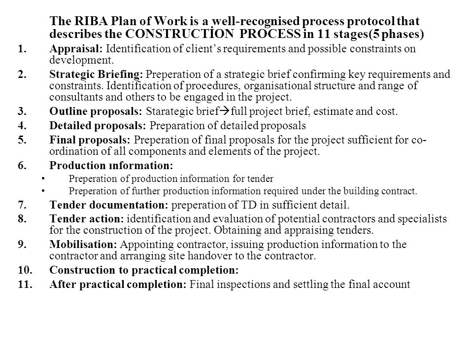 Detailed proposals: Preparation of detailed proposals