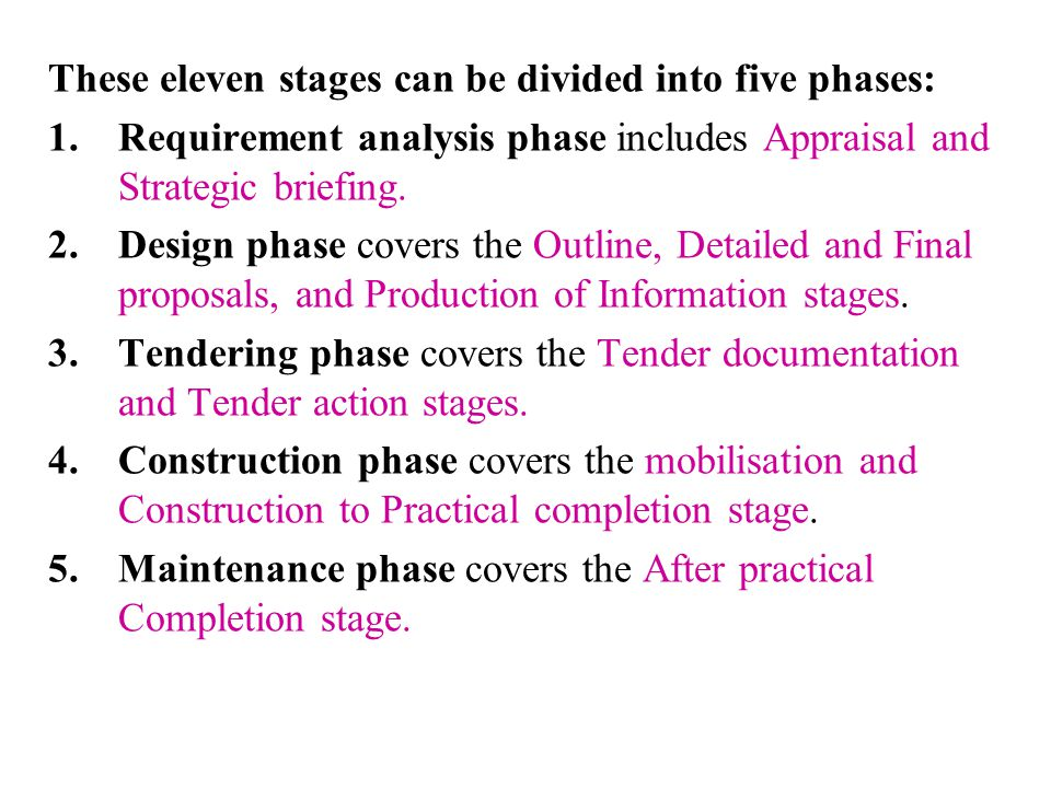 These eleven stages can be divided into five phases: