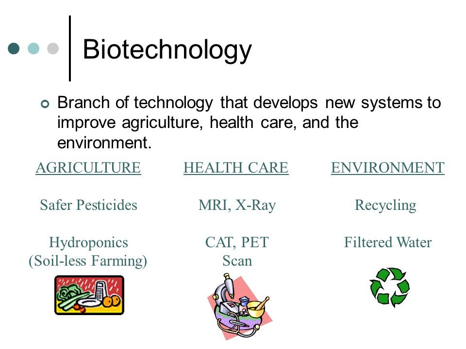 Biotechnology Branch of technology that develops new systems to improve agriculture, health care, and the environment.