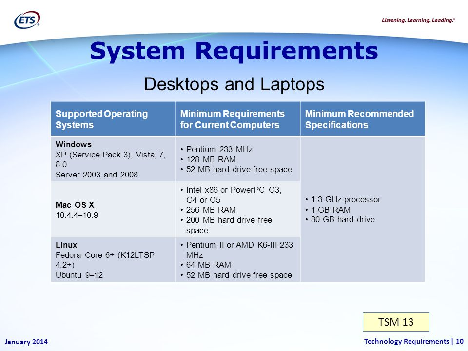 System Requirements Desktops and Laptops TSM 13