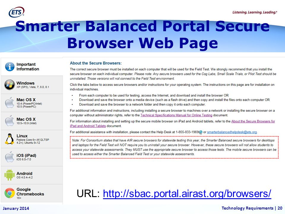 Smarter Balanced Portal Secure Browser Web Page