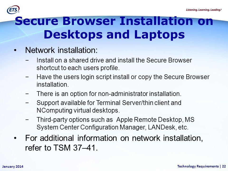 Secure Browser Installation on Desktops and Laptops